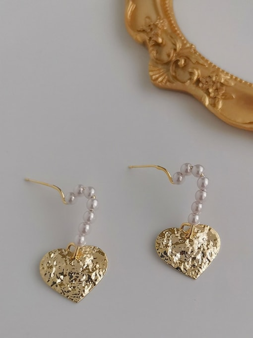 HYACINTH Alloy Freshwater Pearl Gold Heart Classic Earring 0