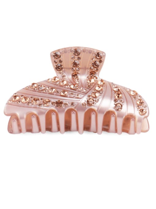 Pink Champagne Cellulose Acetate Minimalist Geometric Rhinestone Jaw Hair Claw