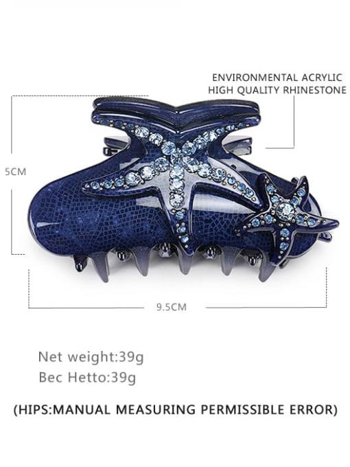 navy blue Acrylic Minimalist Irregular Alloy Rhinestone Jaw Hair Claw