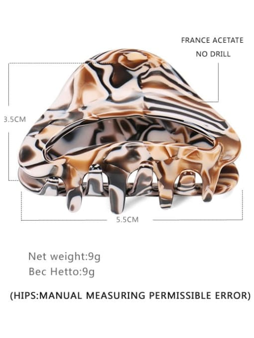 brown Cellulose Acetate Hip Hop Geometric Jaw Hair Claw