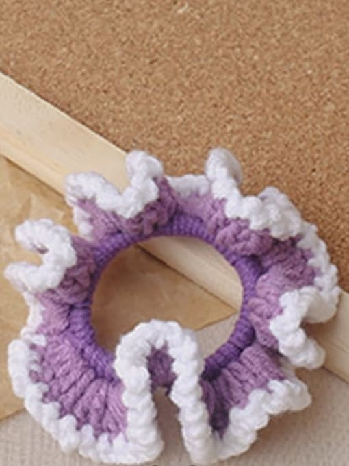 Purple knitting large intestine ring Candy colored knitted large intestine hair loop head rope