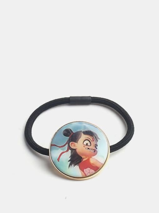 Nezha in red Alloy Cute Round  Resin Multi Color Hair Rope
