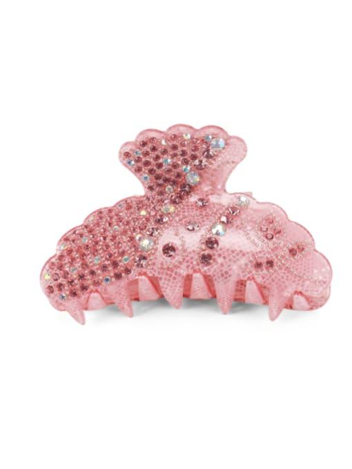 Pink Acrylic Irregular Alloy Rhinestone Multi Color Jaw Hair Claw