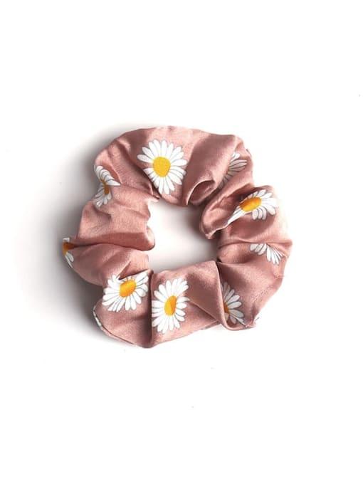 Pink Satin Daisy large intestine ring Fabric Minimalist Hair Barrette