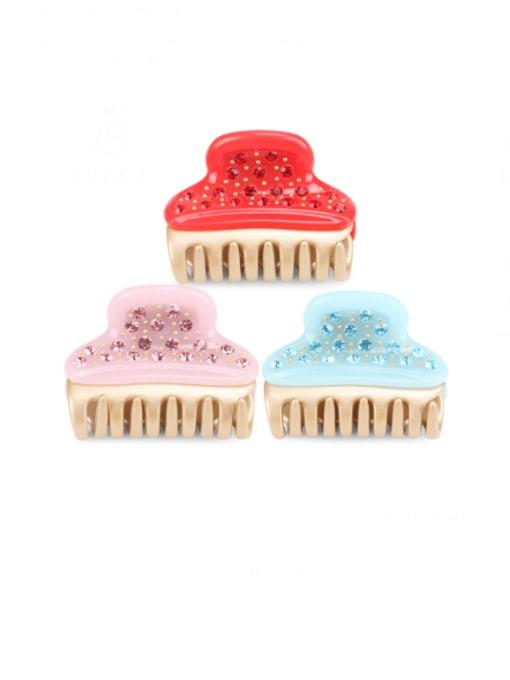 BUENA Cellulose Acetate Minimalist Alloy Rhinestone Jaw Hair Claw