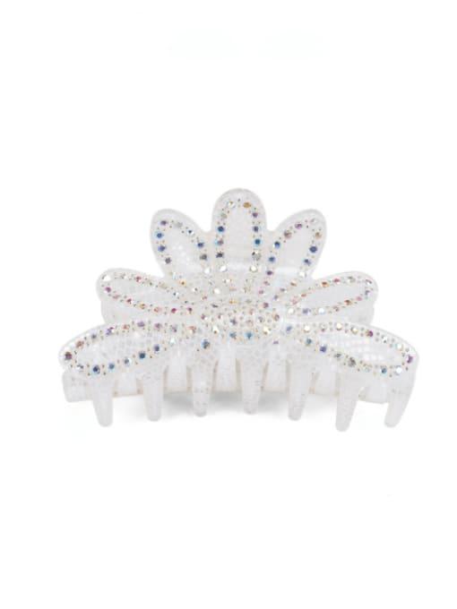 BUENA Acrylic Minimalist Crown Alloy Rhinestone Multi Color Jaw Hair Claw