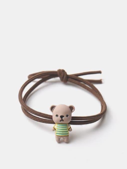 JoChic Alloy Enamel Cute Bear  Multi Color Hair Rope 2