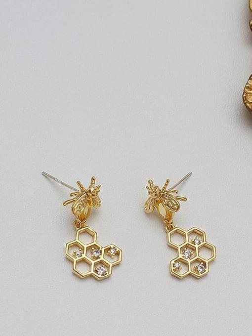 HYACINTH Copper Alloy Zircon Gold Heart Trend Earring 3