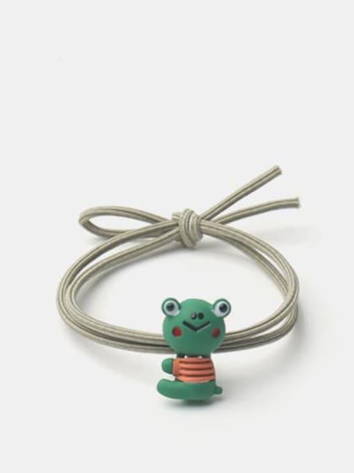 Green side sitting frog Alloy  Enamel Cute Rabbit Multi Color Hair Rope