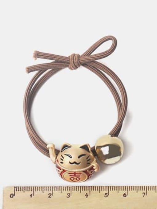 JoChic Alloy Cute Bright Gold Fortune Cat Scrub Beads Hair Rope 1