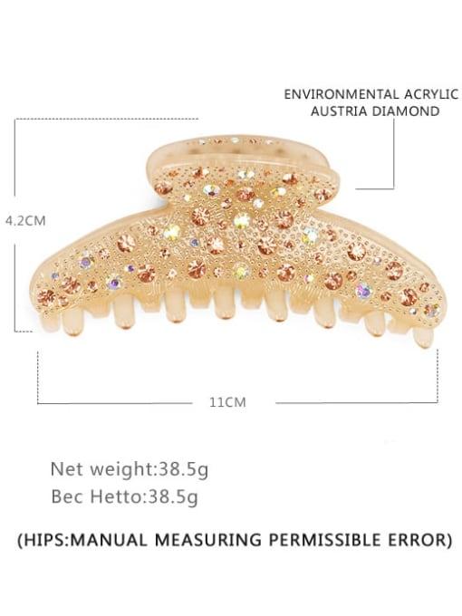 Champagne Acrylic Minimalist Irregular Alloy Rhinestone Multi Color Jaw Hair Claw