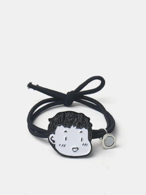 JoChic Alloy Enamel Cute Magnet Boy Magnet Girl  Black Hair Rope 1
