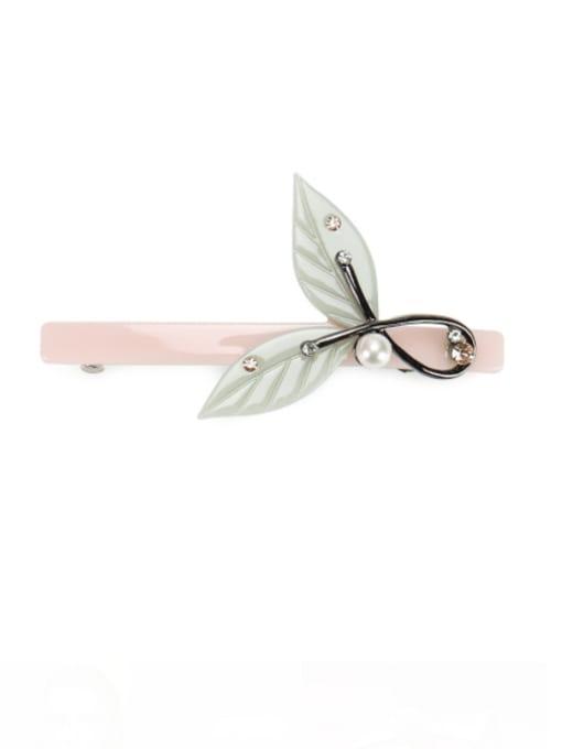 Pink Cellulose Acetate Minimalist Leaf Alloy Rhinestone Hair Barrette