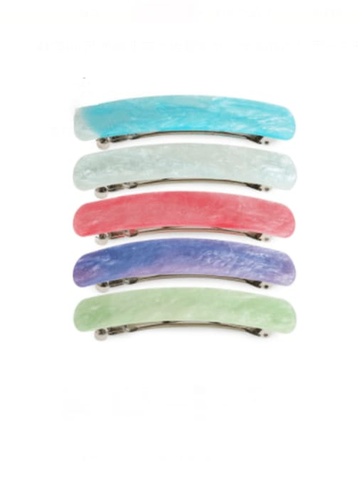 BUENA Alloy Acrylic Minimalist Geometric  Multi Color Hair Barrette 0