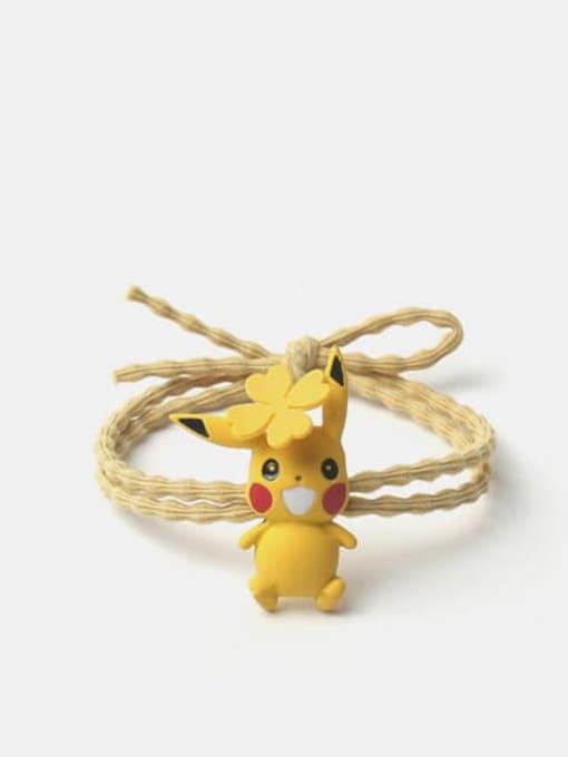 Yellow clover Pikachu Alloy Enamel Cute  Yellow Hair Rope