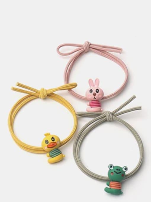 JoChic Alloy  Enamel Cute Rabbit Multi Color Hair Rope