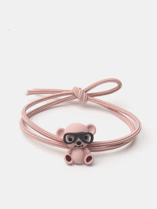 JoChic Alloy Cute Pink Koala With Glasses Hair Rope 0