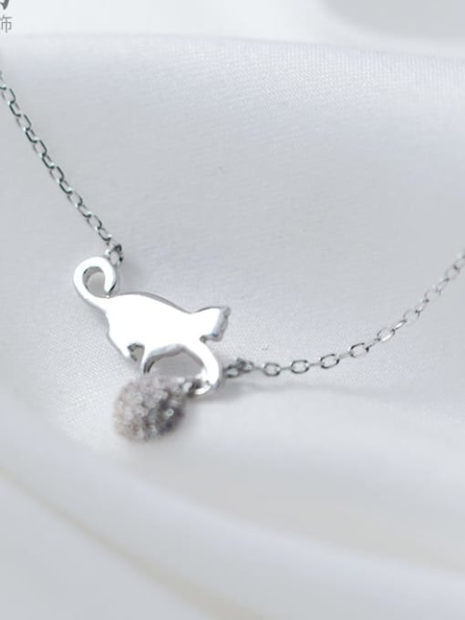 Rosh 925 Sterling Silver Silver Cat Minimalist Necklace 2