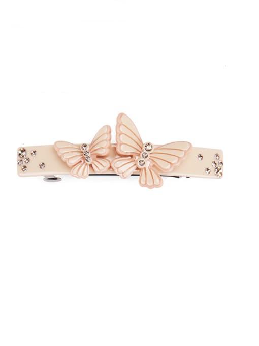 Light pink Cellulose Acetate Minimalist Butterfly  Rhinestone Hair Barrette