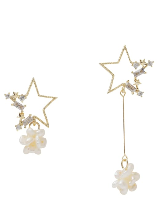 HYACINTH Copper Alloy Freshwater Pearl Gold Star Trend Earring 4