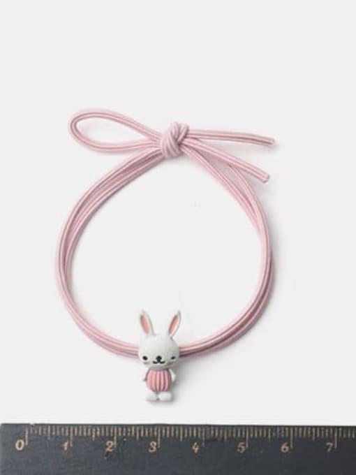 JoChic Alloy Enamel Cute Rabbit  Pink Hair Rope 1