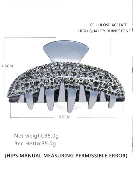 Grey drill Cellulose Acetate Minimalist Geometric Rhinestone Multi Color Jaw Hair Claw