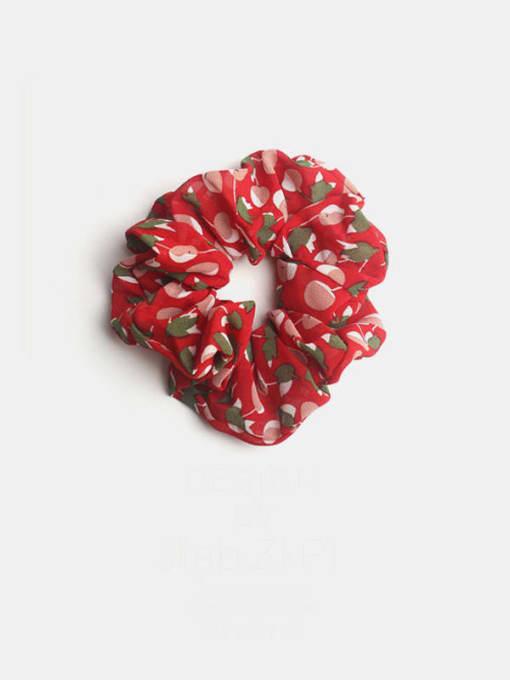 Red cherry large intestine ring Fabric Minimalist Friut Cherry  Hair Barrette