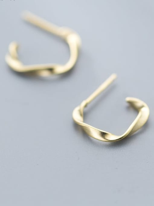 Rosh 925 Sterling Silver Gold Irregular Classic Hoop Earring 0