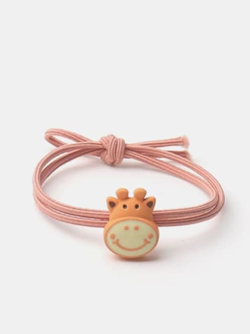 JoChic Alloy Enamel Cute Orange Giraffe Multi Color Hair Rope