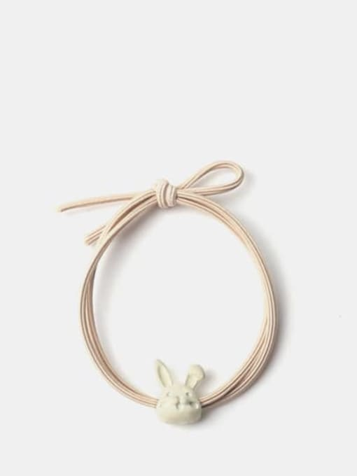 Beige rabbit head Alloy +Cute Icon Hair Rope