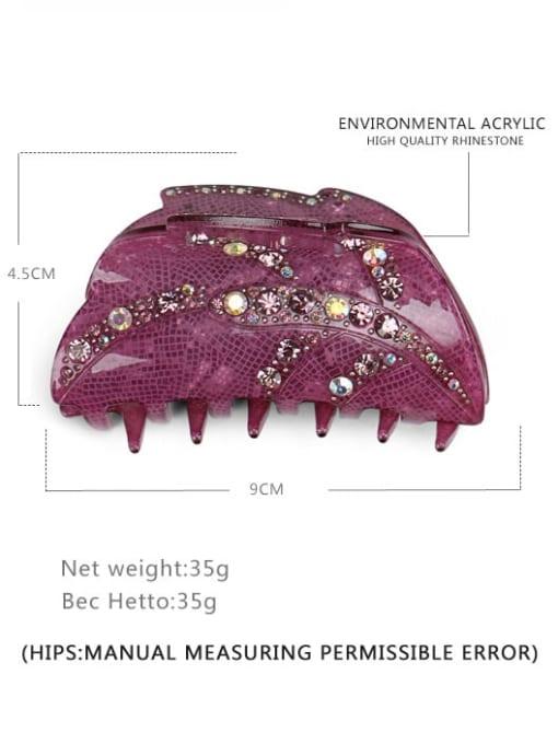 purple Alloy Rhinestone  Acrylic Minimalist Leaf Multi Color Jaw Hair Claw