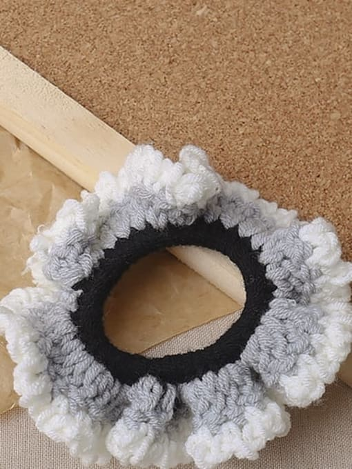 Grey knitted large intestine ring Candy colored knitted large intestine hair loop head rope