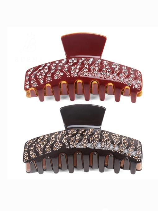 BUENA Cellulose Acetate Vintage Geometric Rhinestone Jaw Hair Claw 0