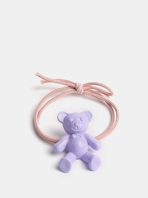 violet Cute fluorescent color bear Hair Rope