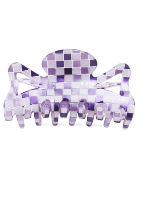 Plaid purple PVC Minimalist Geometric Multi Color Jaw Hair Claw