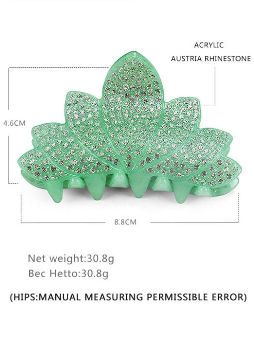 green Acrylic Minimalist Leaf Rhinestone Jaw Hair Claw