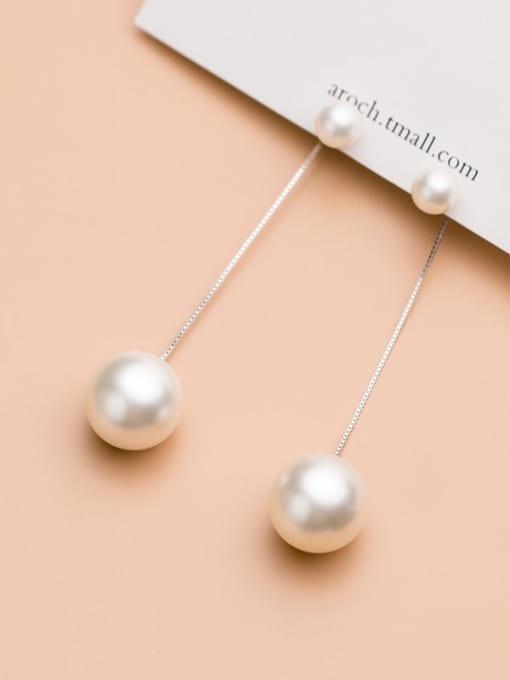 Rosh 925 Sterling Silver Imitation Pearl Silver Trend Drop Earring 2