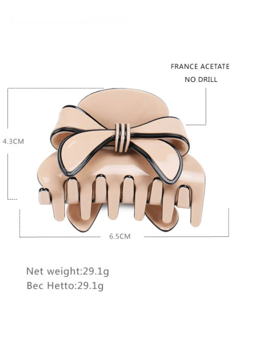 Pink Cellulose Acetate Minimalist Bowknot Jaw Hair Claw