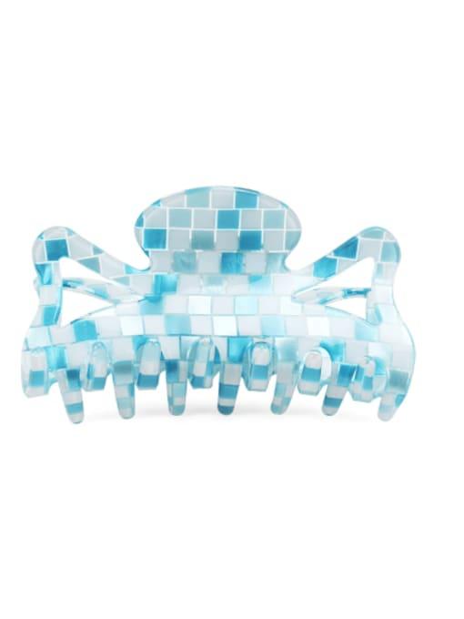Plaid blue PVC Minimalist Geometric Multi Color Jaw Hair Claw