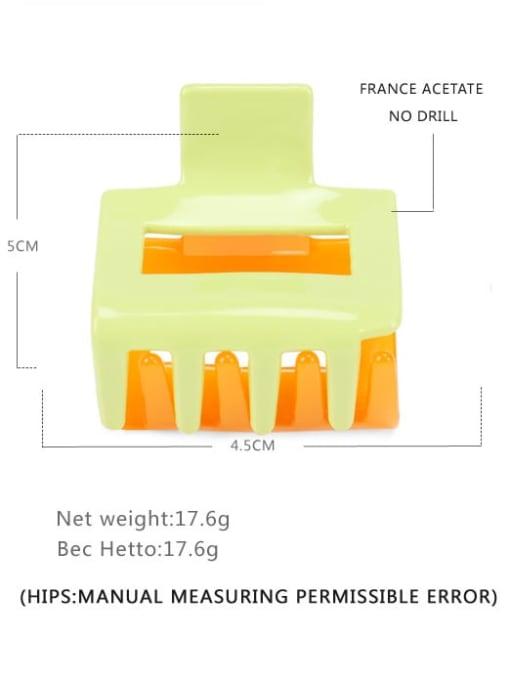 Green orange Cellulose Acetate Minimalist Geometric Multi Color Jaw Hair Claw