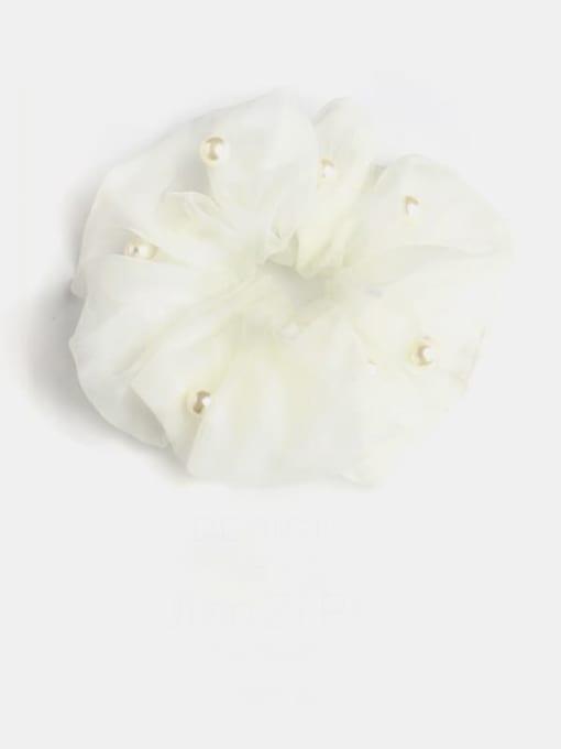 Milk white pearl mesh Yarn Minimalist Imitation Pearl Hair Barrette