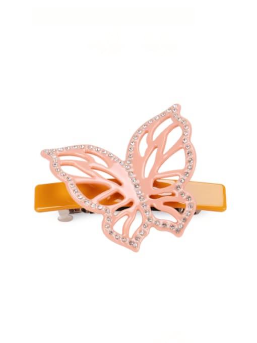 orange Cellulose Acetate Minimalist Butterfly Alloy Rhinestone Hair Barrette