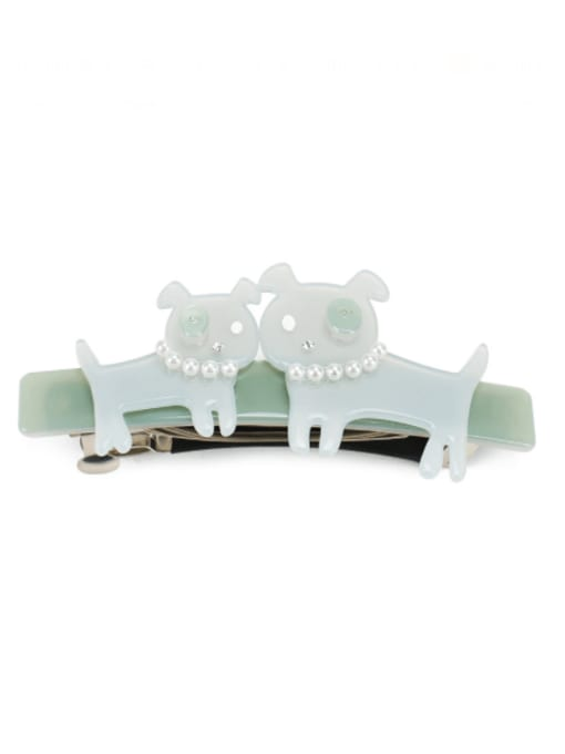green Alloy Cellulose Acetate Vintage Icon  Dog  Hair Barrette