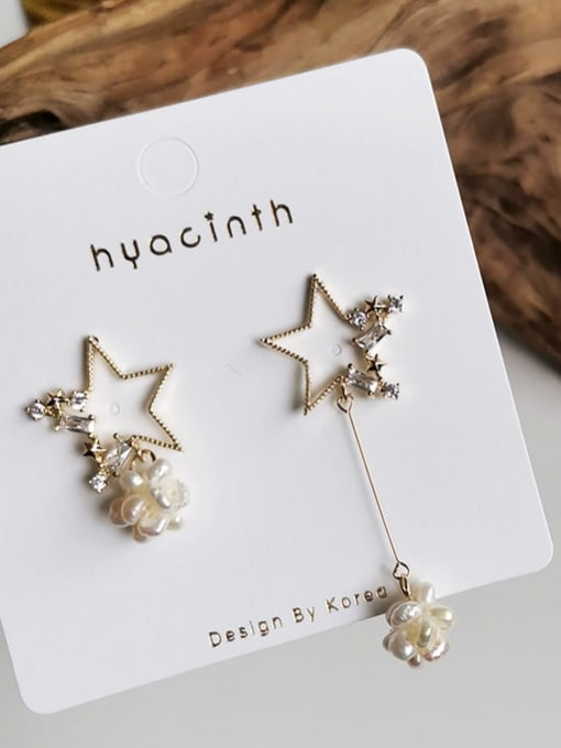 HYACINTH Copper Alloy Freshwater Pearl Gold Star Trend Earring 3