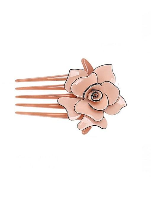 Pink Alloy Acrylic Minimalist Flower Multi Color Hair Comb