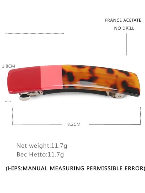 red Alloy Cellulose Acetate Vintage Geometric  Hair Barrette