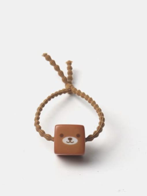 Brown rope printed bear square Acrylic Cute Square Multi Color Hair Rope