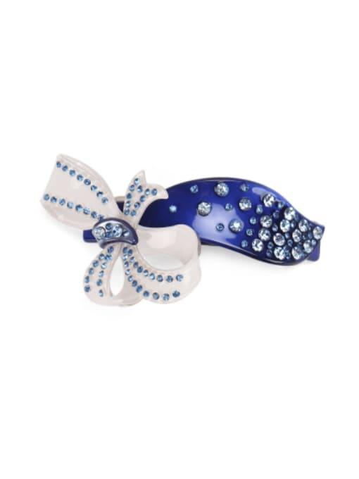 blue Alloy Acrylic Minimalist  Rhinestone Flower   Hair Barrette