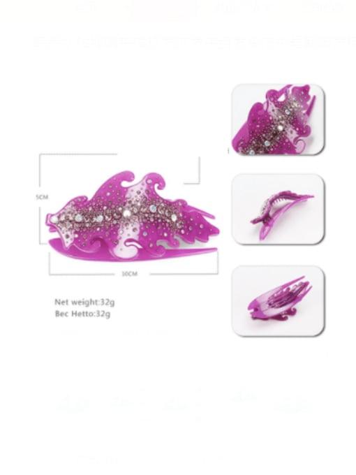 BUENA Acrylic Minimalist Leaf Rhinestone Multi Color Jaw Hair Claw 1