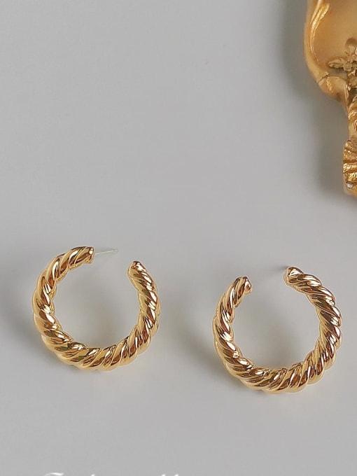 HYACINTH Copper Alloy Gold Geometric Minimalist Hoop Earring